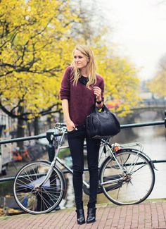 Black skinny jeans and burgundy jumper