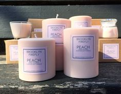 "Peach Candles. 3"" Round Pillars. Set of 3. Gift Boxed. 240 Hours. The aroma of fresh peach is combined with ginger and grapefruit for a wonderfully sweet, fruity blend with just a hint of spice in our signature Peach scent. We use the maximum fragrance oil we can (without compromising the quality of the candle), so you will enjoy your Peach scented candles even when not lit. The set of three round pillars includes one 3"" x 3"" round pillar, one 3"" x 4"" round pillar and one 3"" x 5"" round..."