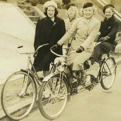 1940s cycle chic. Snapshot from somewhere in the US. From a blog post on vintage photos of female bicyclists (part 2 of a series).