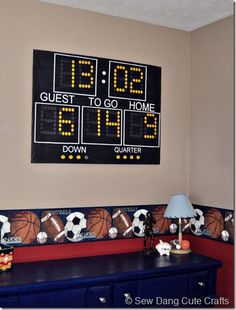 Adorable idea for posting your child's birth date in a sports themed room or nursery.