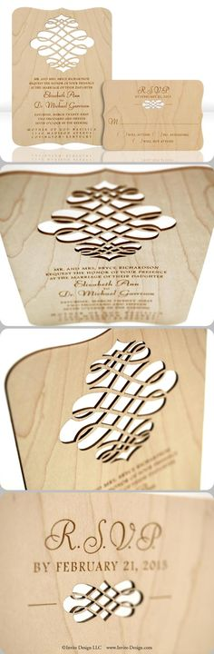 "Laser cut wood wedding invitations. These contemporary wedding invitations and accompanying response cards feature stunning engraved detail. Laser cut into 1/16"" wood planks. http://www.invite-design.com/#!product/prd12/4250248205/filligree-invitation-with-rsvp"