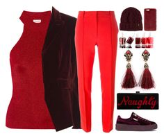 """Ravishing red"" by lottie2004 ❤ liked on Polyvore featuring Yves Saint Laurent, Altuzarra, Emilio Pucci, Puma, Edie Parker, Essie, Dr. Martens, Missguided and red"