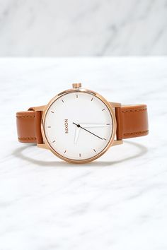 { Nixon Kensington Leather Rose Gold and White Watch at Lulus.com }