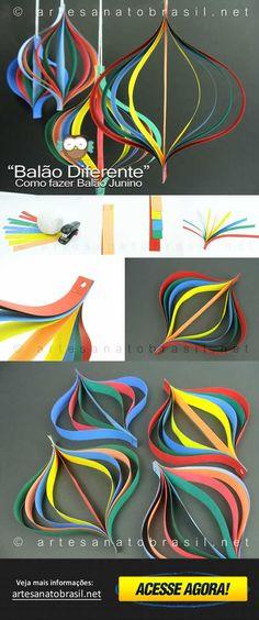 #festa #junina - Aprenda como fazer um Balão diferente para sua Festa Junina - Artesanato Brasil mostra passo a passo, com belas imagens! - Visite agora!