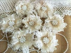 7 shabby chic ivory and honey color lace handmade flowers