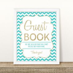 Printable Teal and Gold Baby Shower Guest Book Sign Teal And