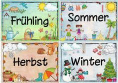 Idea Journey: Seasons Placards Source by German Language Learning, Teaching English, Primary School, Pre School, Diy For Kids, Crafts For Kids, Kindergarten Portfolio, Learn German, English Lessons