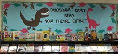 Dinosaur Bulletin Board - The Learning Curve Frozen Bulletin Board, Dinosaur Bulletin Boards, Dinosaur Classroom, Reading Bulletin Boards, Classroom Bulletin Boards, Classroom Themes, School Themes, Dinosaurs Preschool, Dinosaur Activities
