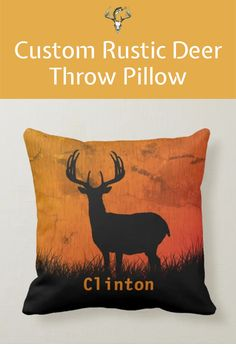 This Rustic Deer Throw Pillow is the perfect accent for Fall and the upcoming deer season. Click to add your name and order now. Hunting Home Decor, Deer Silhouette, Rustic Design, Artwork Design, Custom Pillows, First Names, Throw Pillows, Knitting, Fall