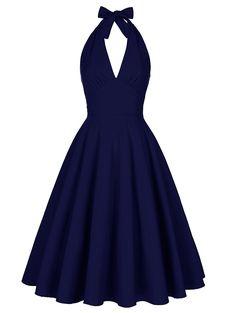 Backless Halter Plunge Dress - PURPLISH BLUE L