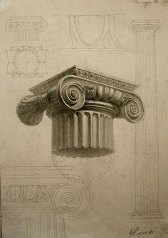 Chapiteau d'ordre ionique - L'ordre ionique est apparu vers 560 avant notre ère. La colonne ionique va jusqu'à neuf diamètres de hauteur, et elle est caractérisée par un chapiteau orné de deux volutes latérales. Des modèles de colonnes de cet ordre peuvent être vus dans le temple de Minerve Poliade à Athènes, dans ceux de la Fortune Virile et dans le théâtre de Marcellus à Rome.