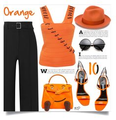 Orange by nuria-pellisa-salvado on Polyvore featuring moda, Zoë Jordan, Veronica Beard, Hermès, Alexis Bittar, Borsalino, polyvorecommunity, polyvorecontest, orangeoutfit and popsoforange