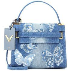 Valentino Denim Handbag found on Polyvore featuring bags, handbags, shoulder bags, blue, purses, valentino, blue shoulder handbags, blue shoulder bag, hand bags and valentino shoulder bag