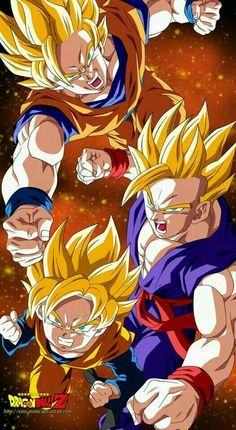 Goku,  Gohan and Goten. Father and Sons