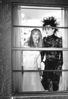 Winona Ryder and Johnny Depp - Still from 'Edward Scissorhands', 1990.