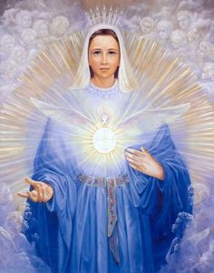 """____________UNCIÓN CATÓLICA : (Ingles/Español) Locuciones de María para el Mundo """"...Debo hablar del Espíritu Santo, Mi esposo, que vino dos veces sobre Mí. La primera vez, Él formó en Mí, el cuerpo físico de Jesús. Luego, el día de Pentecostés, cuando los discípulos estaban reunidos conmigo, vino de nuevo y formó el cuerpo místico de Jesús, la Iglesia. Este es el gran misterio. Quien me encuentra, encuentra al Espíritu Santo. Quien viene a Mí, recibe al Espíritu Santo. Muy a menudo Yo…"""