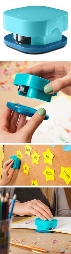 Stapler with a detachable base - easily aligns and staples material of any thickness, or onto a board or wall! #product_design #office #stationary - learn more on http://binaryblog.net