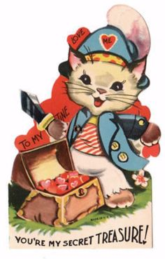 VINTAGE MECHANICAL KITTY PIRATE VALENTINE CARD   Arms Move Up and Down