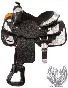 "13"" Silver Royal Black Show Saddle with Oak Leaf Tooling (Loaded with Silver) #SilverRoyal"