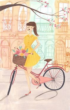 This is an archival art print of my original mixed media piece, The Lady Cyclist. The original illustration has been printed on beautiful Magazin Design, Bike Illustration, Dibujos Cute, Bicycle Art, Illustrators, Original Artwork, Art Drawings, Artsy, Girly