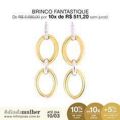 Brinco Fantastique Ouro amarelo e branco com diamantes - De: R$ 5.680,00 Por: R$ 5.112,00 ou 10x de R$ 511,20 sem juros #diadamulher #diadasmulheres