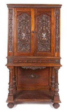~ A Continental Mahogany Court Cupboard first half 20th century ~ bidsquare.com