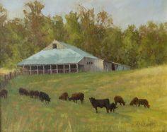 """Bath County Landscape""   Beth Marchant   16""x20""   Oil  #rural #rustic #barn #country #painting #oilpainting #braziergallery #artgallery #artforsale #bethmarcant #realism #fineart #art #artwork #artist #femaleartist #landscape #cows"