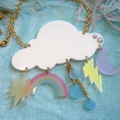 Acrylic Cloud Necklace. $16.00, via Etsy.