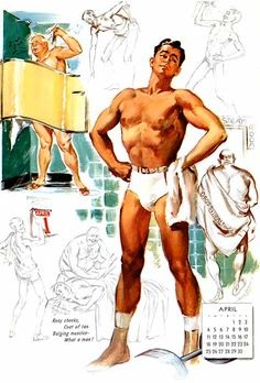 """Rosy cheeks, coat of tan, bulging muscles - what a man!""...rare male vintage pin-up Joyce Ballantyne."