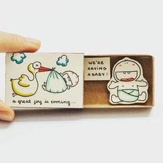 """Stork Baby Announcement Card Matchbox Gift box Message box """"A great joy is coming - We are having a baby"""" Matchbox Crafts, Matchbox Art, Baby Announcement Cards, Pregnancy Announcements, Tarjetas Diy, Creative Box, Cute Messages, Cute Box, Cute Diys"""
