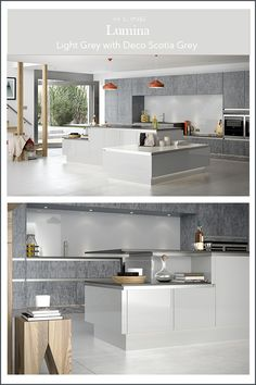 Lumina H Line is a super high gloss range that epitomises the modern, urban look with its highly reflective finish Grey Gloss Kitchen, Handleless Kitchen, Modern Spaces, Open Plan Living, Wales, Scotland, Minimalism, Kitchen Ideas, Kitchens