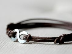Infinity Bracelet - Brown leather and Aluminium wire - Men and Unisex bracelet