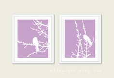 Birds and Branches  Digital Print Set  Purple by AldariArt on Etsy