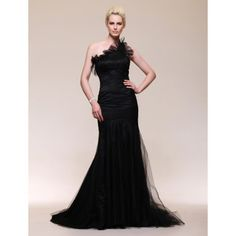 Satin Tulle Trumpet/ Mermaid One Shoulder Sweep Train Evening Dress inspired by Julia Stiles at Golden Globe Award – US$ 199.99