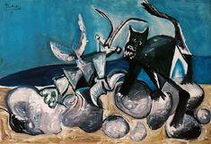 Chat et homard sur la plage, 1965 | Pablo Picasso