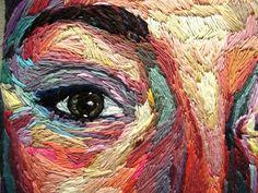 Julie Sarloutte — jsarloutte: On my own, Autoportrait, embroidery,...