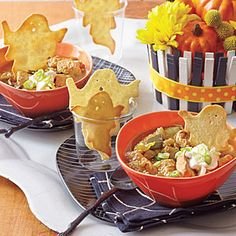 Have some fun with your food this Halloween! This cozy chili is made in a slow-cooker, so all you have to do is roast the tomatillos and add everything to the pot. Don't forget the tortilla ghosts!