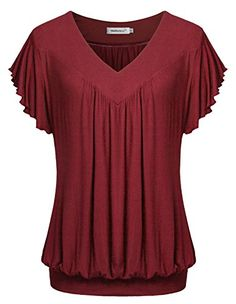 96e94b46 Women's Clothing, Tops & Tees, Knits & Tees, Summer Short Sleeves Tops V  Neck Ruffled Sleeve Loose Fitting Shirts - Wine - & Tees