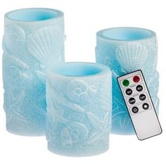 Wayfair 3 Piece Seashell Embossed Flameless Wax Pillar Candle Set with Remote