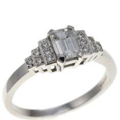 Deco step Emerald cut Diamond ring