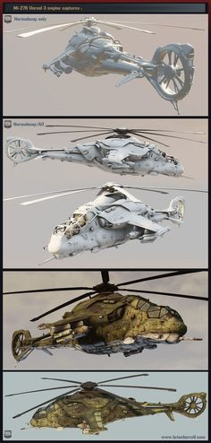 Brian Burrell shows his rendition of his favourite Russian Mi-24 Hind gunship helicopter, which was created in Maya for modeling, Mudbox for cleanup and 95% of the sculpted detail work as well as part of the texturing component. In addition, Brian also used Photoshop, Xnormal, Ndo2 and Crazybump for texturing, AO and normal map generation. Maya LT was also used to bring the model down to under 25K poly count - at 24972.