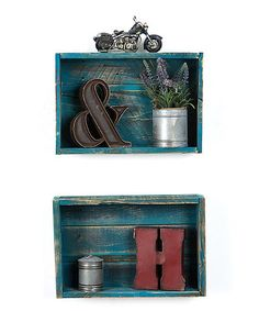 Look what I found on #zulily! Turquoise Reclaimed Wood Shadow Box - Set of Two #zulilyfinds