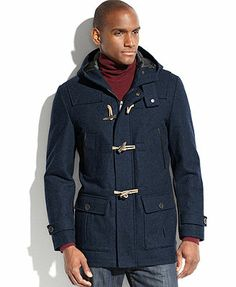 Nautica Coat, Hooded Wool-Blend Water-and-Wind Resistant Toggle Coat   - At Macy's ** Mine  **