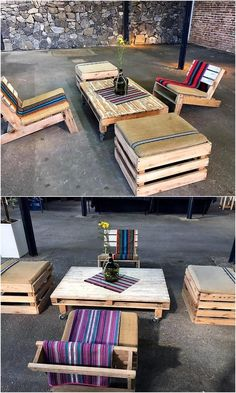 Here is another idea of creating the furniture with the upcycled wooden pallets, the table contains the wheels which make them easy to carry anywhere and the chairs are 2-legged. Painting the pallets is not mandatory as the natural color is sober, which makes them usable as they are.