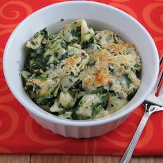 Baked Tortellini with Fontina Cheese with Spinach