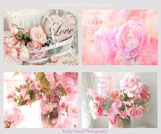 Flower Photography Print Set, Shabby Chic Flowers, Pink Peonies Roses Wall Art, Dreamy Pink Blossoms Peonies Flower Set, Bathroom Art Decor