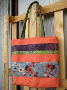 Sac Ruban carré porté épaule orange corail à fleurs par Fee Home, Etsy Shop, €49,00