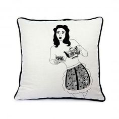 Time for tea Cushion - Marianne Crunch - Cushions - Soft Furnishings - Home The Lost Lanes #burlesque #Monochrome #HomeDecor #Home #HomeAccents