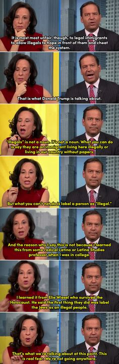 "Latina journalist Maria Hinojosa epically shuts down a condescending Trump adviser on the word ""illegals"""
