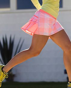 Pace Setter Skirt in coral gingham - this is one of my favorite running skirts. I love the new colors. Tennis Outfits, Tennis Skirts, Sports Skirts, Tennis Dress, Tennis Clothes, Golf Outfit, Cute Outfits, Athletic Outfits, Athletic Wear